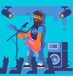 Bass guitarist plays on the electric guitar rock vector