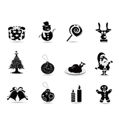 black christmas icon set vector image vector image