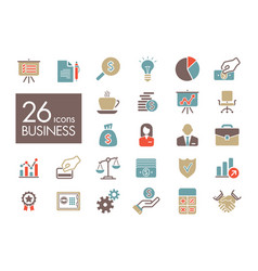 business and finance web outline icon set vector image