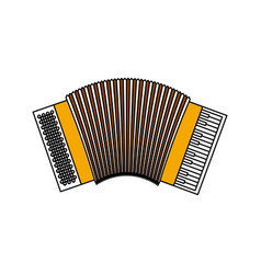 Color sections silhouette of accordion with thick vector