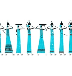 Ethnic women with jugs seamless background for vector image
