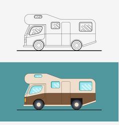Family traveler truck journey camping traveling vector