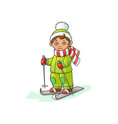 flat cartoon boy skiing isolated vector image