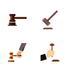 Flat icon lawyer set of tribunal law government vector