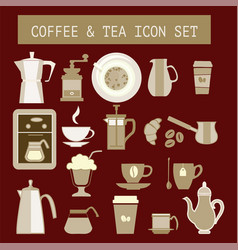 Flat tea and coffee icons for web design vector