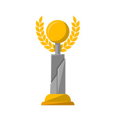 golden award trophy with wreath vector image vector image