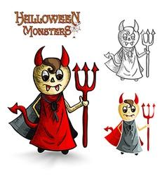 Halloween monsters scary cartoon devil man EPS10 vector image
