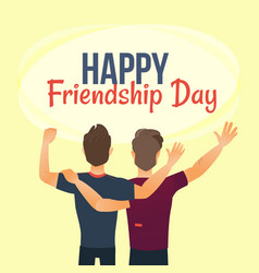 Happy friendship day greeting card back view of vector