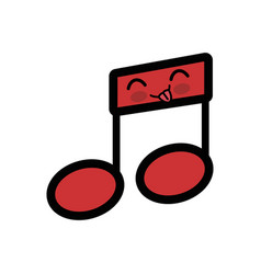 Kawaii musical note icon vector