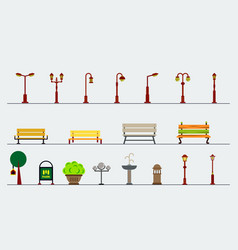 Light posts and outdoor elements for construction vector