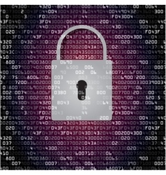 Lock on background with hex-code vector