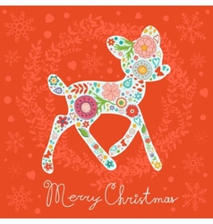 Merry christmas greeting card colorful floral deer vector