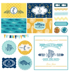 Nautical sea theme set - for party decoration vector