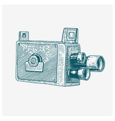 photo movie film camera vintage engraved hand vector image vector image