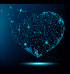 polygonal heart on blue background vector image vector image