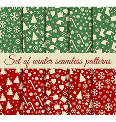 Seamless patterns Christmas Winter vector image vector image