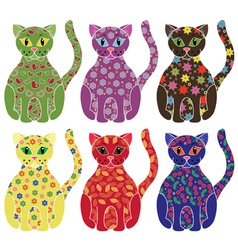 Set of six colorful funny cats over white vector image vector image