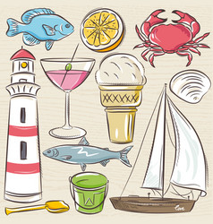 Set of summer symbols shells crab boat vector