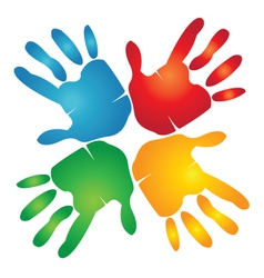 Teamwork hands colorful vector