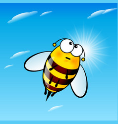tired a cute bee in sky vector image vector image