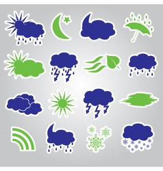 weather stickers icons set eps10 vector image vector image