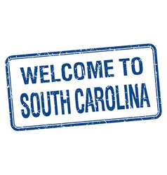 Welcome to south carolina blue grunge square stamp vector