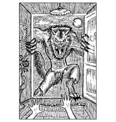 werewolf engraved fantasy vector image vector image