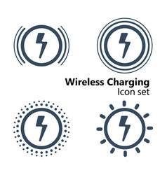 wireless charging icon set vector image