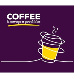 Yellow color takeaway cup coffee with whi vector