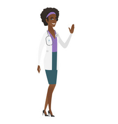 Young african-american doctor waving her hand vector