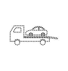 Tow car evacuation sign black dashed icon vector