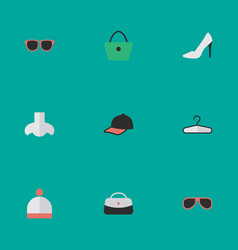 Set of simple equipment icons elements sport hat vector