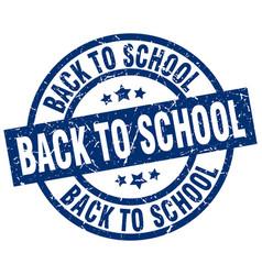 Back to school blue round grunge stamp vector