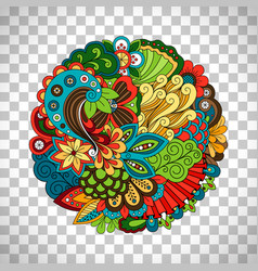 Ethnic doodle floral circle like pattern vector