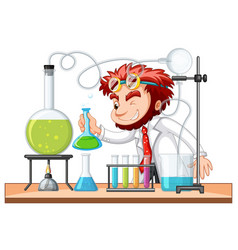 mad scientist mixes chemical in lab vector image