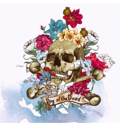 Skull and flowers vector
