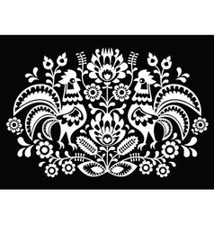 Polish folk art pattern roosters on black vector image
