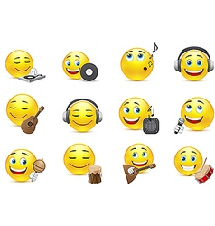 emoticons depicted with various musical vector image