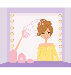 Beautiful woman in hairdressing salo vector