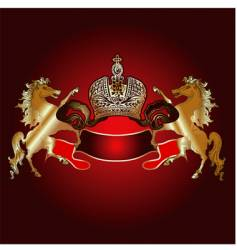 King crown and golden horses vector