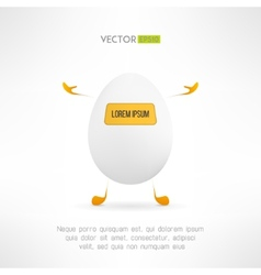 Happy cartoon egg creature cute simple robot with vector