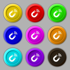 Magnet icon sign symbol on nine round colourful vector image