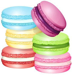 Macaron in different flavors vector
