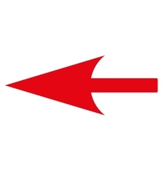 Sharp left arrow flat red color icon vector