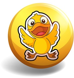 Little duckling on round badge vector image