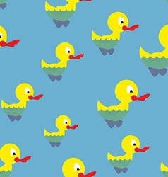 Ducks swim in pond seamless pattern waterbird in vector