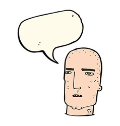 Cartoon bald tough guy with speech bubble vector