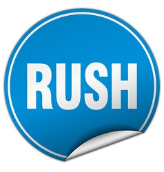 Rush round blue sticker isolated on white vector
