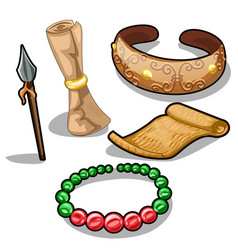 Ancient weapons characters and jewelry vector