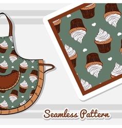 Apron with creamy cupcakes vector